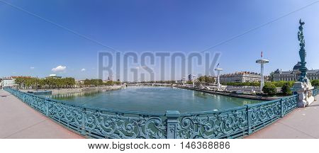 View To Rriver Rhone And Skyline Of Lyon