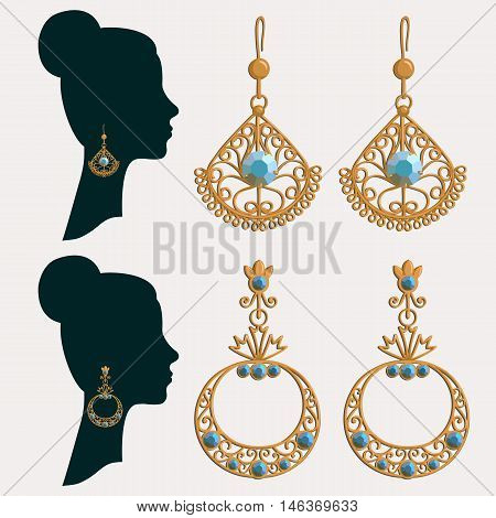 Vector illustration of silhouette of a Women in earrings. Set of gold earrings with gemstones