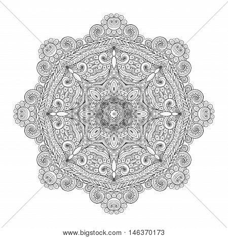Vector Beautiful Deco Monochrome Contour Mandala Patterned Design Element Ethnic Amulet
