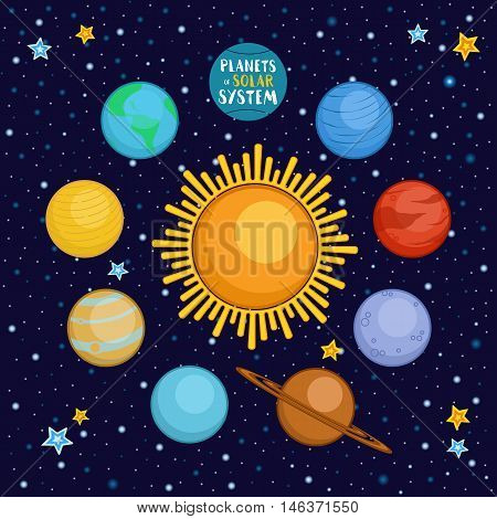 Planets of solar system in outer space, cartoon style vector illustration. Cute cartoon style planets - sun, Mercury, Venus, Earth, Mars, Saturn, Jupiter, Uranus, Neptune
