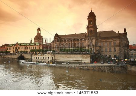 flood in Dresden 2013 Embankment of the Elbe river Academy of Fine Arts and Frauenkir