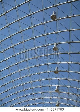 metal and glasses cover structure, blue sky