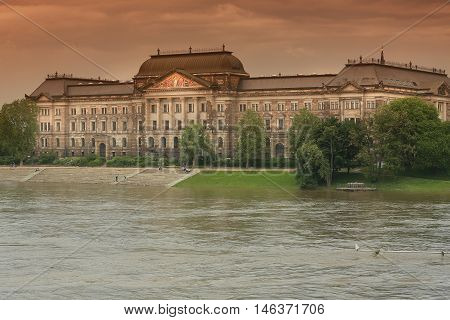 flood in Dresden 2013 Ministry of Finance buildings over Elbe river in Dresden German