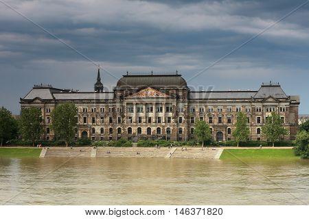 flood in Dresden Ministry of Finance buildings over Elbe river in Dresden German