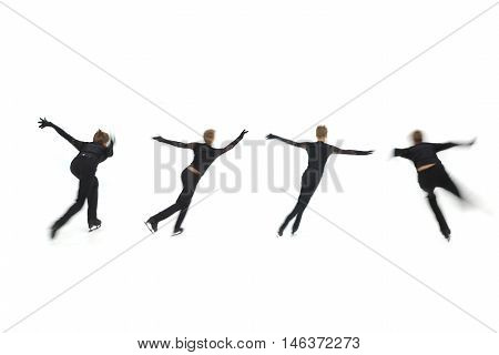 man figure skater on a white background, blurred
