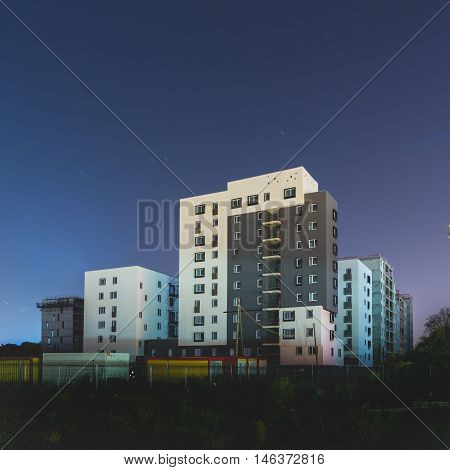 City landscape, Luminous Building at night, flats