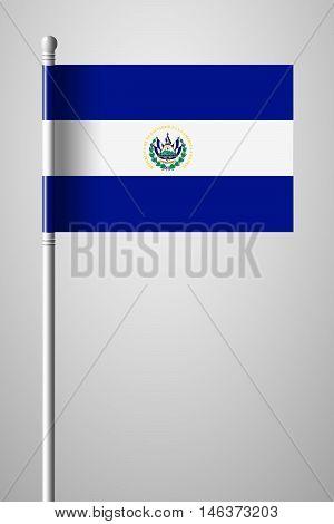 Flag Of El Salvador. National Flag On Flagpole
