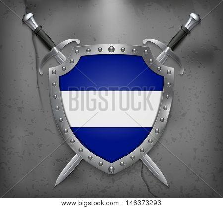 Flag Of El Salvador. The Shield Has Flag Illustration. Vector Medieval Background