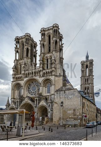 Laon Cathedral is one of the most important examples of the Gothic architecture of the 12th and 13th centuries located in Laon Picardy France