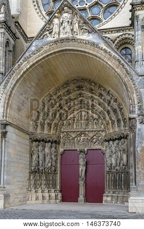 Laon Cathedral is one of the most important examples of the Gothic architecture of the 12th and 13th centuries located in Laon Picardy France. Portal
