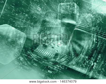 Digits and electronic device - abstract computer background in greens.