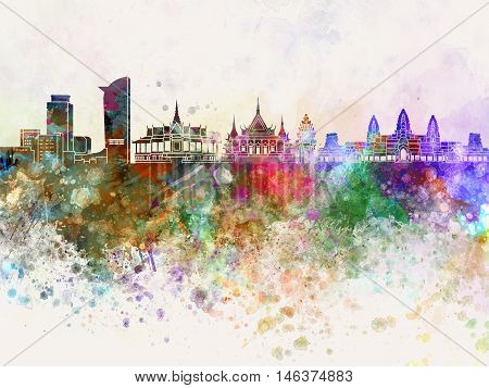 Phnom Penh skyline artistic abstrac in watercolor background