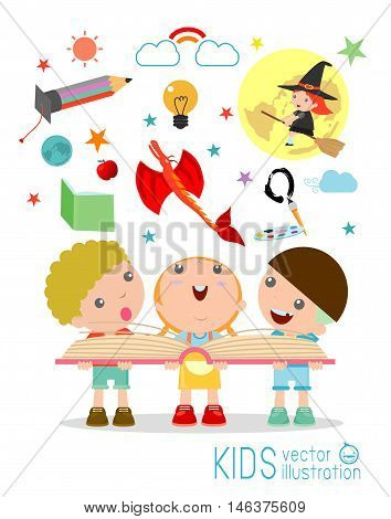 kids reading book with Imagination flying out, children reading a magic book, Isolated on white background, Imagination concept, happy children, Vector Illustration.