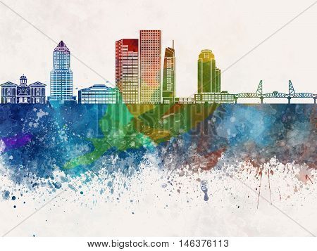 Portland skyline artistic abstract in watercolor background