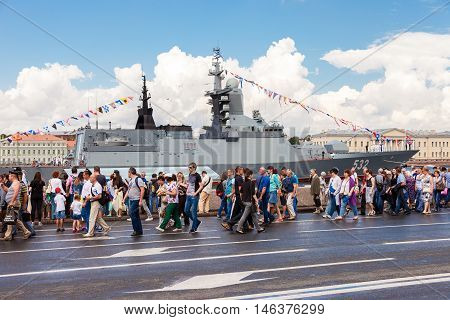 ST. PETERSBURG RUSSIA - JULY 31 2016: Warship on the Neva river for Navy day celebration on July 31 2016 in St. Petersburg Russia