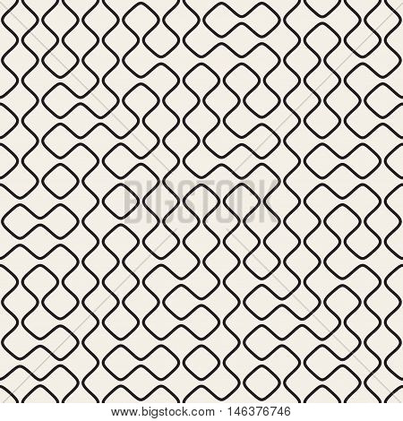 Vector Seamless Black and White Round Line Grid Irregular Pattern. Abstract Geometric Background Design