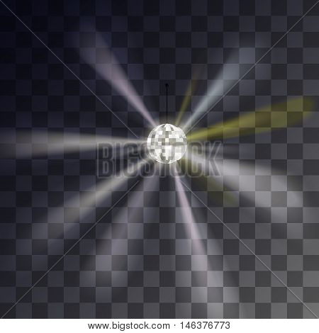 Disco ball showy rays on a transparent background. Vector illustration