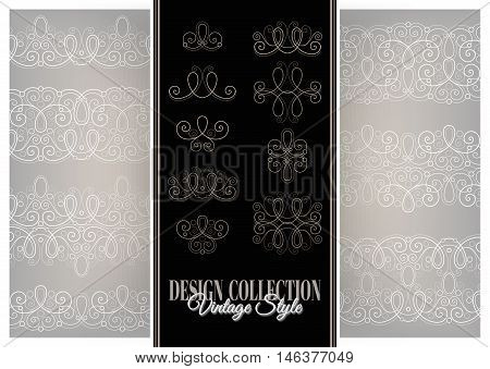Vector Set of Calligraphic Design Elements and Ornate Laces. Collection of Linear Borders and Old-fashioned Laces. Vintage Deco Style