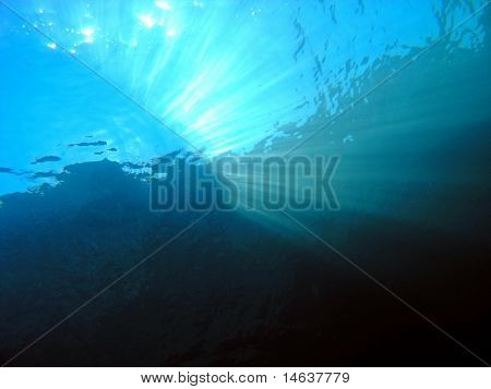 Beams of the sun underwater