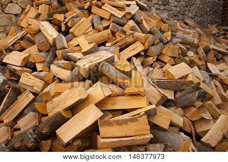 firewood in the yard prepared for winter