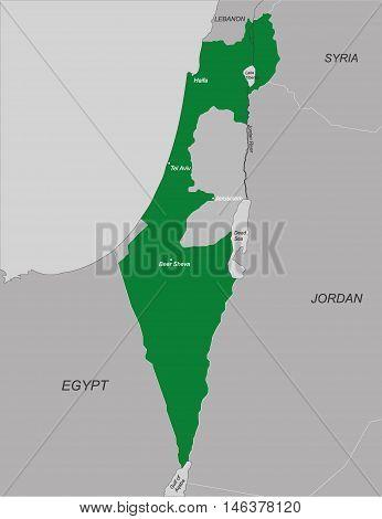 Political map of Israel, vector illustration. EPS 10