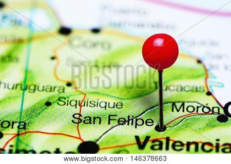 San Felipe pinned on a map of Venezuela
