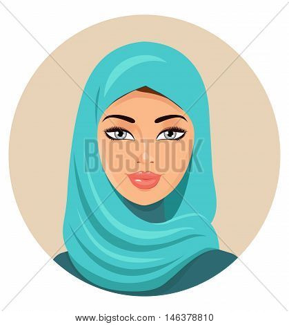 Muslim girl dressed in colored hijab. Arabian portrait. Vector Illustration.  Eps10. Isolated on a white background.