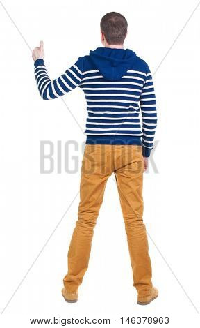 Back view of  man in sweater shows thumbs up.   Rear view people collection.  backside view of person.  Isolated over white background.