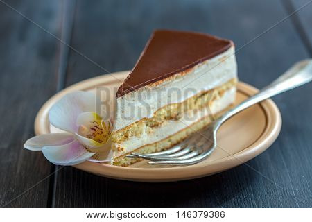 Piece Of Cake With A Delicate Souffle And Chocolate.