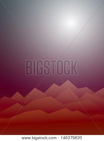 Creepy mountains in the mist under the hazy sun. Highlands landscape, vector background for horror Halloween flyer, advertising, banner, ads, poster
