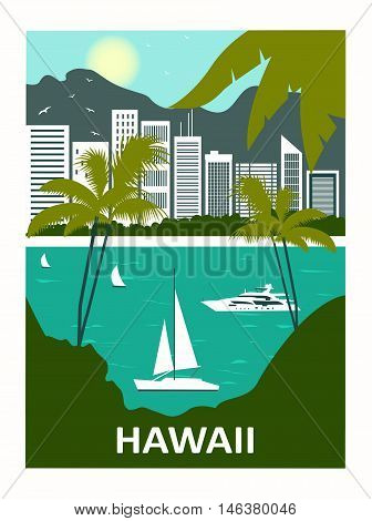 Honolulu city Diamond Head and Waikiki Beach. Hawaii USA