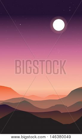 Abstract landscape of a dawn. Purple and peachy colors. The moon and stars in the sky while the sun is rising.