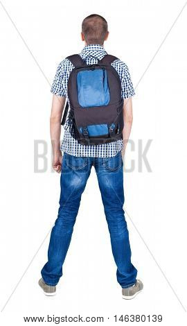 Back view of man with   backpack looking up. Rear view people collection.  backside view of person.  Isolated over white background.