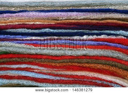 Colorful scarves on an oriental bazaar market in Khiva, Uzbekistan