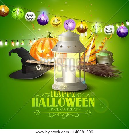 Happy Halloween greeting card with lantern old hat pumpkin broom and party hat on green background