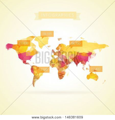 World map with elements of infographics. Vector eps10.