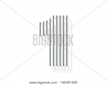 Silver, Steel Wire Font. Number One 1
