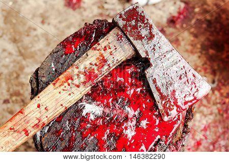 a Bloody Ax close up. A halloween