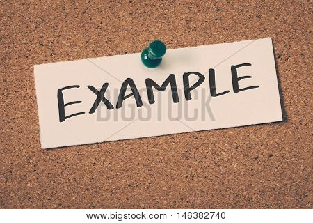 Example note pin on the bulletin board