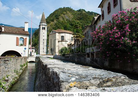 View of old town in Vittorio Veneto Italy