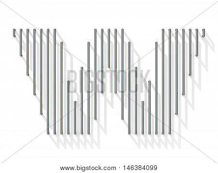 Silver, Steel Wire Font. Letter W