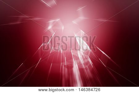 3D Abstract Red Background with Fast Zoom Speed Space Low Poly Connecting Dots and Lines - Connection Structure - Futuristic HUD Background