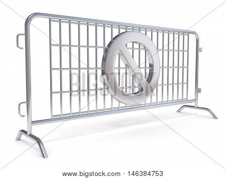 Steel barricades with NO sign. Side view. 3D render illustration isolated on white background