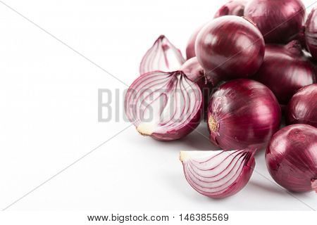 red onion on a white background. Left space for text