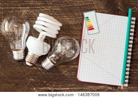 Three different light bulbs and notebook with energy efficiency label