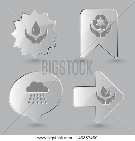 4 images: protection blood, protection nature, rain, life in hands. Nature set. Glass buttons on gray background. Vector icons.