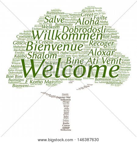 Vector concept or conceptual abstract tree  welcome or greeting international word cloud in different languages or multilingual isolated