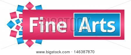 Fine arts text written over pink blue background.
