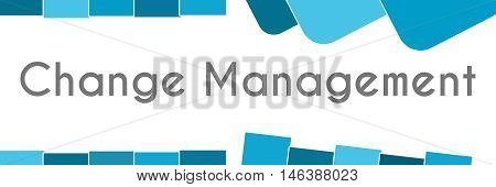 Change management text written over abstract blue background.