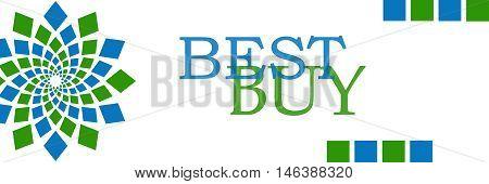 Best buy text written over green blue background.